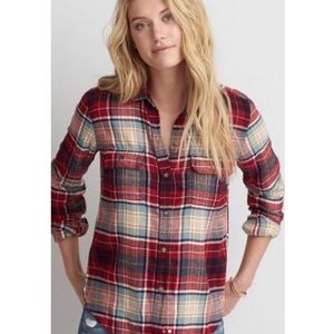 American Eagle Red Plaid Flannel Button Down Shirt